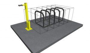 Ilustrație parcare de bicicletă + stație de reparat biciclete